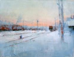 Ж/д узел. Зимний пейзаж №1. Картина в частной коллекции