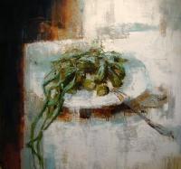 Натюрморт с зеленым луком. 2013. Картина в частной коллекции
