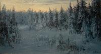 Зимний пейзаж. Скоро стемнеет. 2013. Картина в частной коллекции